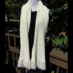 Beautiful Ivory Scarf ❄️ Never Worn ❄️ Beautiful scarf!! About 68 inches long not counting fringe! About 9 inches wide! 100% acrylic. Wash cold tumble low! Tag says Ivory for color!! Never used ! It's beautiful!! ❄️✨ Fashion Bug Accessories Scarves & Wraps