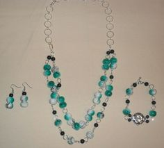 3 Piece Silver, Black, Jade Green, necklace watch pierced earring Set #ShesGifted