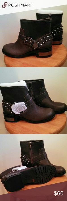 Vince Camuto Windetta leather boots. Brand new, as you can see. These are a deep greyish brown- the perfect neutral boot! Silver hardware and metallic name plate on heel. Awesome. Vince Camuto Shoes Ankle Boots & Booties