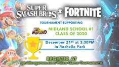 Yup, you heard that right-Super Smash Bros and a Fortnite tournament in the SAME night! Support a great cause and battle your way to victory. Register NOW - tournament will be on December starting at pm in Rochelle Park! Midland School, Video Game Tournaments, Rochelle Park, Madden Nfl, Mario Kart, Play To Learn, Super Smash Bros, Yup, Battle