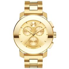 Movado Bold Goldtone Stainless Steel Chronograph Bracelet Watch found on Polyvore featuring jewelry, watches, apparel & accessories, gold, stainless steel watches, polka dot watches, bezel bracelet, movado wrist watch and clasp bracelet