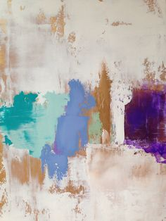Large Abstract Painting 24x36 Gold White Mint Turquoise periwinkle and Purple.