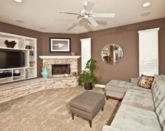 corner Fireplaces & tv for Basements   Corner Fireplace and built in with TV - I like ...   Dream House Insp ...
