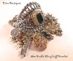 Mixed metals mixed media bling bracelet, over the top, design by Brenda Sue Lansdowne of B'sue Boutiques  bracelet for sale at the website  www.bsueboutiques.com