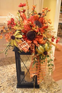 Welcome to Share Your Creations party I hope you will link up and join in the fun! I'm seeing lots of great fall and Halloween inspira. Fall Lanterns, Lanterns Decor, Fall Swags, Fall Wreaths, Thanksgiving Decorations, Seasonal Decor, Fall Decorations, Red Sunflowers, Autumn Decorating