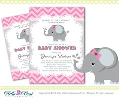 Personalized Pink Elephant Baby Shower Printable DIY party invitation for girl, chevron, pink, grey- ONLY digital file - you print sku46