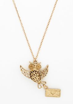 Blast from the Post Necklace. The fancy, cutout-finessed owl pendant delivers a message just for you!  #modcloth