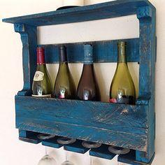 painted wood wine rack