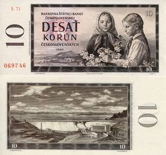 Czechoslovakian banknote from Girls picking flowers and view of Orava Dam - Stock Image German East Africa, West Africa, Retro 1, Retro Vintage, African States, First Day Covers, World Coins, Socialism, Borneo