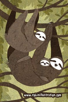 Hanging Out 3-toed sloth version 12x18 poster by theGorgonist
