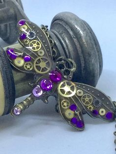 Timeless small purple steampunk dragonfly