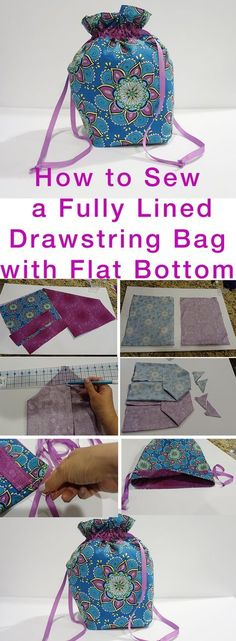 Jan 4 How to Sew Fully Lined, Flat Bottomed, Drawstring Bag FREE Pattern - Kristin Omdahl - Handarbeit Sewing Hacks, Sewing Tutorials, Sewing Crafts, Sewing Tips, Sewing Ideas, Sewing Basics, Sacs Tote Bags, Diy Sac, Leftover Fabric