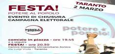 Taranto - Chiusura campagna elettorale di Potere al Popolo in piazza e poi festa in sede