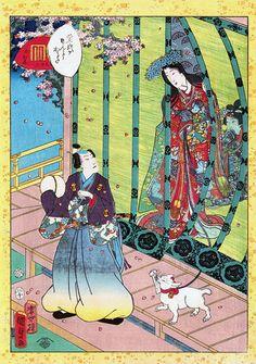 Utagawa Kunisada II (1823–1880), No. 36, Kashiwagi from the series Lady Murasaki's Genji Cards, 1857.