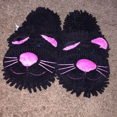 Cat slippers Black cat slippers, never used, super adorable and cute! Comfy and a lot of cushion! Shoes Slippers