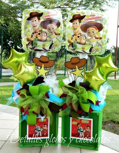 "Toy Story ""Detalles globos y chocolates"" Toy Story Dulceros, Toy Story Theme, Festa Toy Story, Toy Story Cakes, Toy Story Party, Woody Birthday Parties, Woody Party, Toy Story Birthday, 3rd Birthday"