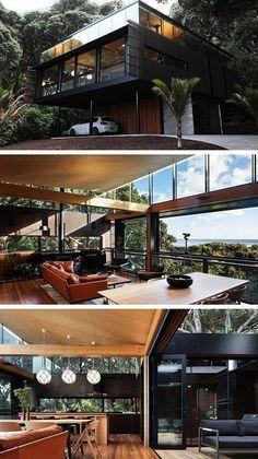 Kawakawa House by Herbst Architects in Piha, New Zealand . - Kawakawa House by Herbst Architects in Piha, New Zealand - Cool House Designs, Modern House Design, Big Modern Houses, Big Houses, House Ideas, Container House Design, Storage Container Homes, Shipping Container Homes, Architect House