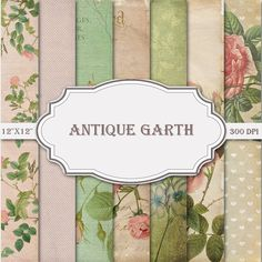 """Floral Digital Paper Shabby Chic Papers Floral Patterns Scrapbook Printable Floral Papers CardsCraft 300dpi 12""""x12"""" (#198) ANTIQUE GARTH"""