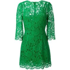 Dolce & Gabbana floral lace dress (8,085 PEN) ❤ liked on Polyvore featuring dresses, short dresses, green, 3/4 sleeve lace dress, short cocktail dresses, green lace dress, green lace cocktail dress and green mini dress