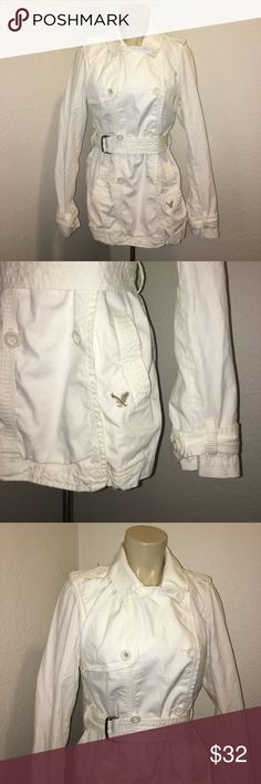 American Eagle Outfitters Military Trench Coat Stunning white denim cotton Military trench coat by American Eagle Outfitters in excellent preowned condition. Size medium. Super chic and stylish! American Eagle Outfitters Jackets & Coats Trench Coats