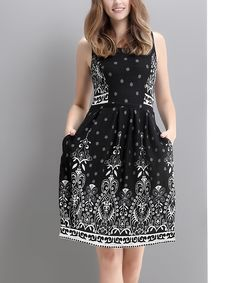 Look at this Black Suzani Fit & Flare Dress on #zulily today!