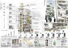 ヒューリック 学生アイデアコンペの公式サイトです。表参道を代表する建築―この場所が通ってきた時代やここに集う人々を象徴する建築―「THE 表参道」を提案してください。 Folding Architecture, Architecture Presentation Board, Green Architecture, Japanese Architecture, Architecture Design, High Building, Building Design, Building Plans, Panel
