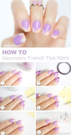 How to Geometric French Manicure Tips Nails Tutorial