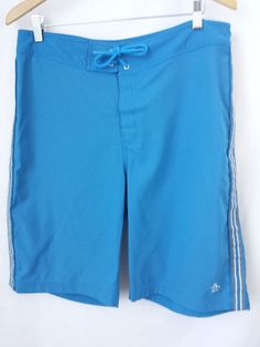 Penguin Board Shorts Size 34 Swim Trunks Blue with White Stripe Polyester  #Penguin #BoardShorts