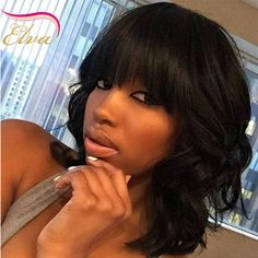 73.09$  Buy here - http://alivup.worldwells.pw/go.php?t=32679352657 - 7A Virgin Human Hair Bob Wig Lace Front Short Bob Wig With Bangs Glueless Brazilian Nature Wave Full Lace Wigs For Black Woman