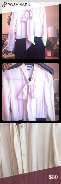 NWT- Theory Classic Work Dress Brand New! Theory white and black professional and classy work dress. Size 8 and perfect for the office. New with tags, button up blousy top and black front zip bottom with pockets.                            💜46 Theory Dresses