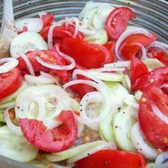 It's almost summer!! I love my seasonal foods: Marinated Cucumber, Onions & Tomato Salad
