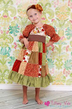 Girls Patchwork Peasant Dress PDF Sewing Pattern