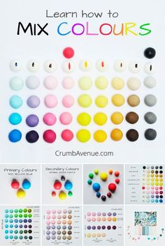 How to mix colours - FREE TUTORIAL - fondant, gum paste, cake decorating, colouring, color, colors, mixing colours, primary, secondary