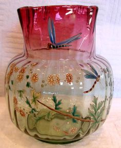 French Art Glass Vase Pale Green to Deep cranberry hand painted enameled dragonflies & flowers, ca.1880.