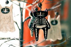 Skeleton Cat Halloween Clay Folk Art Ornament by KilkennycatArt, $11.50