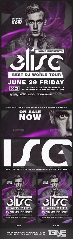 Club #DJ #Flyer Template - Clubs & Parties #Events Download here:  https://graphicriver.net/item/club-dj-flyer-template/19503412?ref=alena994