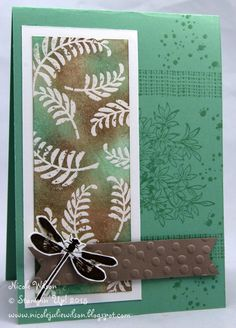 """By Nicole Wilson. Uses stamps from """"Awesomely Artistic"""" by Stampin' Up. Foliage was stamped in VersaMark and heat embossed in clear or white before brown and green inks were sponged over the panel."""