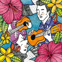 Two goodlooking ukelele players singing together #illustration #watercolor #marker #couple #beautifulcouple #upsidedown #color #2018calendar Beautiful Couple, Markers, Singing, Calendar, Graphic Design, Watercolor, Illustration, Pen And Wash, Sharpies