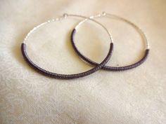 Handmade Delicate 925 Sterling Silver Hoop Earrings - Bohemian; Mixed Metals; Unque Hoop Earrings
