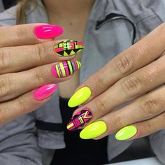 by Magdalena Żuk Indigo Educator, Madeleine Studio! Double Tap if you like Punk Nails, Neon Nails, Love Nails, Fabulous Nails, Gorgeous Nails, Pretty Nails, Aztec Nail Art, Tribal Nails, Indigo Nails