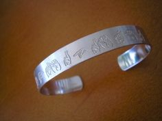 custom sign language cuff bracelet  sterling silver