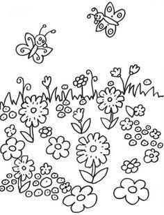 Blumen: Kostenlose Malvorlage: Schmetterlinge auf der Blumenwiese zum Ausmalen