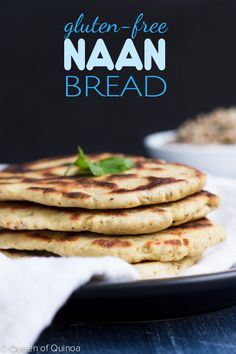 The perfect gluten-free naan bread made with high-protein quinoa flour! (Use corn free xanthan gum or substitute guar gum to make corn free. Gf Recipes, Dairy Free Recipes, Whole Food Recipes, Cooking Recipes, Indian Recipes, Gluten Free Cooking, Vegan Gluten Free, Quinoa Flour Recipes, Quinoa Bread