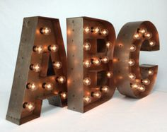"""Marquee LETTERS ... custom steel marquee letter 18"""", light up letter, marquee sign, A B C D E F G H I J K L N O P Q R S T U V W X Y Z &"""
