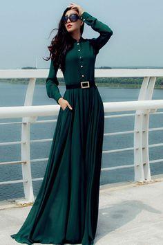 緑のスタンドカラー長袖マキシ服