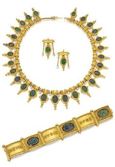 Group of Archaeological-Revival Gold and Hardstone Jewelry. The necklace suspending green chalcedony intaglios of ancient Roman deities and motifs, accented by pearls, unsigned; the earrings suspending two green chalcedony intaglios, flanked by fringes supporting pearls, with partial hallmarks; the bracelet with three green chalcedony intaglios, spaced by gold plaques with the Greek works Pistis, Elpis and Eros, with maker's mark for Castellani. #Castellani #ArchaeologicalRevival