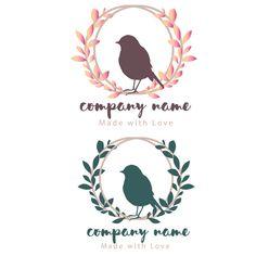 ooak two colors Custom logo design bird leafs by BrandingYou