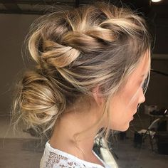 Messy braid and low bun
