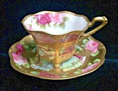Beautiful Nippon Hand Painted China w/ Roses & Moriage Footed Cup & Saucer - Floral Japanese Teacup with gold & pink roses - Tea Cup