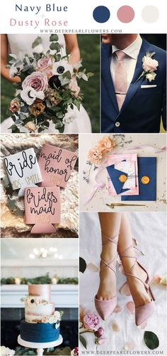Blue themed wedding - navy blue and dusty rose wedding color ideas weddings weddingcolors blue blueweddings wedding weddingideas deerpearlflowers Vintage Wedding Colors, Navy Wedding Flowers, Dusty Rose Wedding, Dusty Blue Weddings, Summer Wedding Colors, Navy Blue Wedding Theme, Summer Wedding Ideas, Navy Spring Wedding, November Wedding Colors